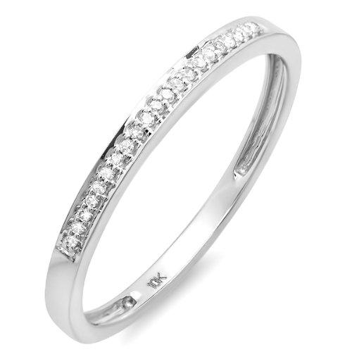0.10 Carat (ctw) 10k White Gold Round Diamond Ring Wedding Anniversary Stackable Band