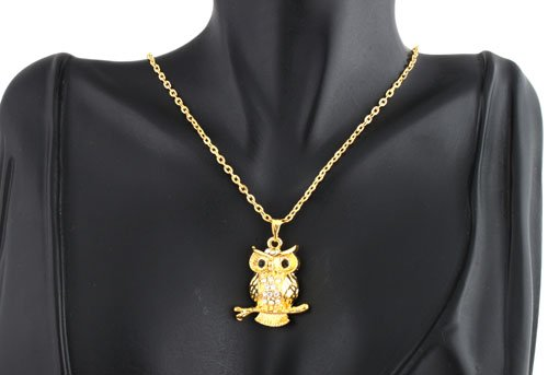 Ladies Gold Owl Pendant Iced Out 17 Inch Necklace with Stud Earrings Jewelry Set