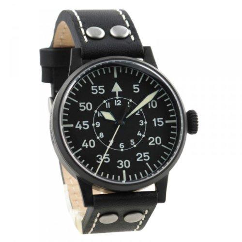 Laco Kassel Black PVD Swiss Quartz Pilot Watch with Sapphire Crystal 861793