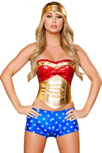 4 Piece Wonder Heroine Wonder Girl Superhero Costume