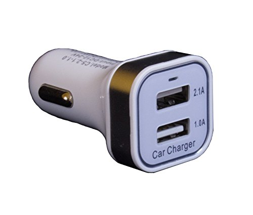 ReadyPlug® USB Car Charger for Wellograph The Wellograph Watch 2 USB Dual Port (White)