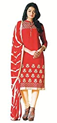 Aradhya Women's Red Satin Cotton Dress Material