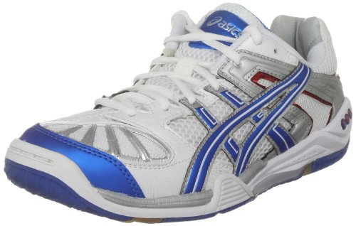 ASICS Men's Gel Blade 3 M White/Metallic Blue/Silver Court Trainer R004N 0142 10.5 UK