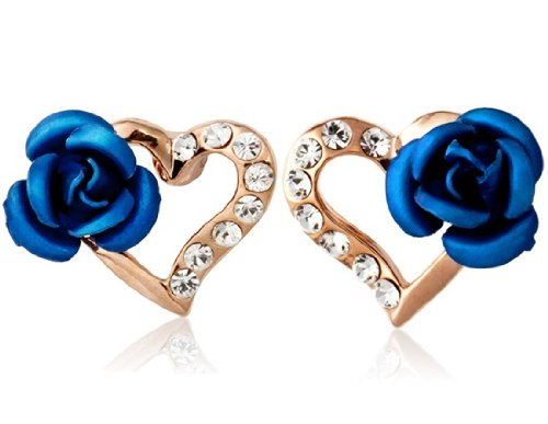 Rigant 18K RGP Crystal & Rose Accented Heart Stud Earrings (Blue) M. by Preciastore