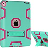 iPad Pro 9.7 Case, BENTOBEN iPad Pro 9.7 Inch Case Kickstand 3 In 1 Hybrid Shockproof Heavy Duty Rugged High Impact Resistant Protective Case for iPad Pro 9.7 Inch Retina Tablet, Green/Rose Red