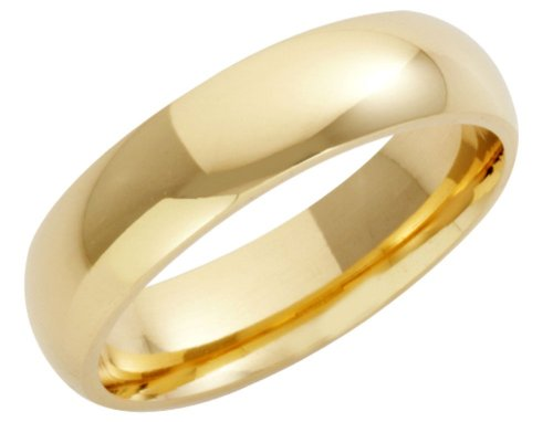 Wedding Ring, 18 Carat Yellow Gold Heavy Court Shape, 5mm Band Width