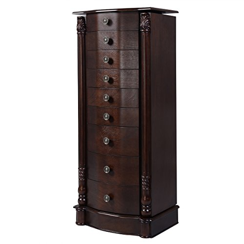 giantex wood jewelry cabinet armoire box storage chest. Black Bedroom Furniture Sets. Home Design Ideas