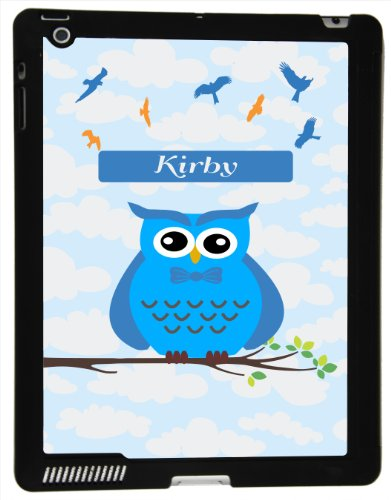 "Rikki Knighttm ""Kirby"" Name - Cute Blue Owl On Branch With Personalized Name Ipad Smart Case For Apple Ipad® 2 - Apple Ipad® 3 - Apple Ipad® 4Th Generation - Ultra-Thin Smart Cover With Magnetic Support For Apple Ipad front-89465"