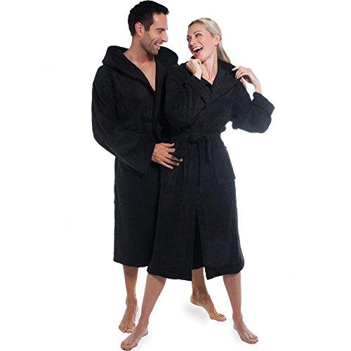 Bademantel für Damen & Herren | viele Farben alle Größen | Morgenmantel Baumwolle Frottee mit Kapuze | Föhr aqua-textil 0010137 | schwarz S