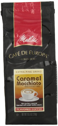 Melitta Café de Europa Gourmet Coffee, Caramel Macchiato Ground, Flavored, 10.5-Ounce