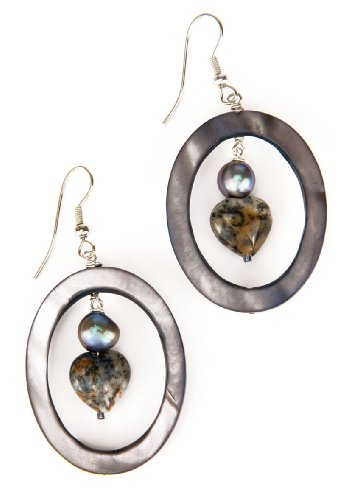Handmade Moss Opal Heart, Grey Pearl and Large Shell Earrings