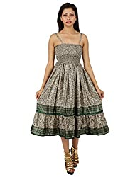 Indian Polyester Floral Dress Green Printed Medium For Girl's By Rajrang