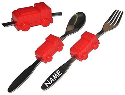2-tlg-Besteckset-aus-Edelstahl-incl-Name-Gabel-Lffel-mit-Feuerwehr-Auto-Besteck-Kinderbesteck-Autos-fr-Jungen-Kinder