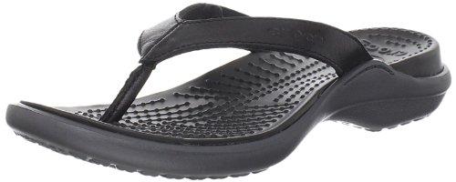 Crocs Women's Capri Flip Leather Flip Flop,Black/Graphite,5 M US
