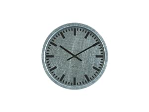 Present Time Karlsson In-Outdoor Use Station Galvanized Steel Wall Clock