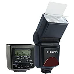 Polaroid PL-144AZ Studio Series Digital Power Zoom TTL Shoe Mount AF Flash With LCD Display For The Sony Alpha NEX-6, NEX-7, SLT-A33, SLT-A35, SLT-A37, SLT-A55, SLT-A57, SLT-A58, SLT-A65, SLT-A77, SLT-A99, A100, A200, A230, A290, A300, A330, A350, A380, A