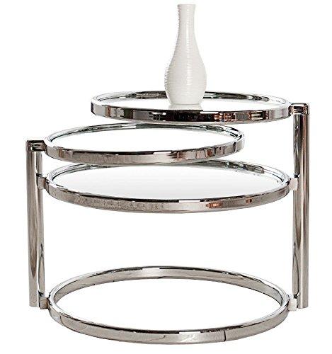CRAVOG-Beistelltisch-Glas-Chrom-Rund-Plate-3-Beweglich-Couchtisch-Design-Art-Deco-Stil