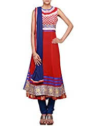 Kalki Fashion Red Anarkali Suit Featuring With Zari Cut Work Only On Kalki