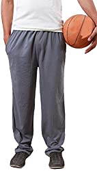 Colors & Blends -Medium Grey- Cotton blended Track Pants with Zipper Pockets- Size L