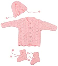 Kuchipoo Hand Knitted Sweater Set (Pink, 0 to 6 Month)