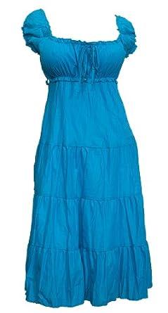 eVogues Plus Size Blue Cotton Empire Waist SunDress - 5X