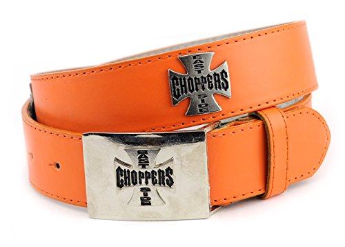 NYfashion101 Silver Tone Choppers Cross Genuine Leather Chrome Buckle Belt S