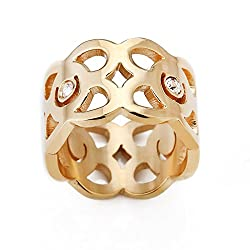 See Us-DeSiGn Fashion Gold Hollow Out Women Rings With AAAA CZ Anel Vintage Stainless Steel Gold Ring Crown Luxury Womens Wedding Jewellery 9.0 Details