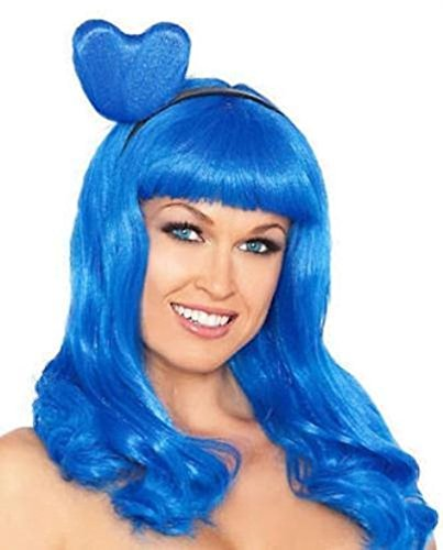Popcandy Blue Candy Girl Adult Katy Perry Costume Long Wig with Bangs and Heart Headband (Katy Perry Candy)