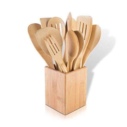 Modernhome 11 Piece Bamboo Kitchen Tool Set, Bamboo/Natural (Kitchen Utensil Holder Bamboo compare prices)