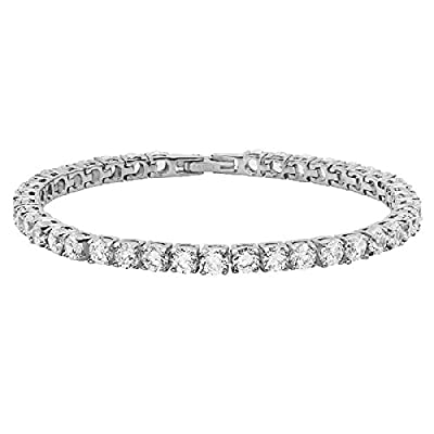 YourJewellerybox 69186 STAINLESS STEEL CLASSIC BRILLIANT ROUND SIMULATED DIAMOND TENNIS BRACELET