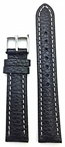 18Mm Black, Shrunken Grained Leather, Medium Padded,White Stitches Watch Band