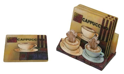 Drink Coaster Set with Holder in Cappuccino Coffee Design