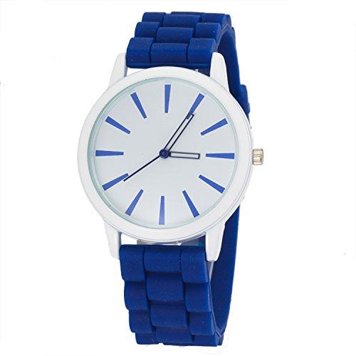 Luxury Mirror Silicon Strap Blue Analog Dial Chronograph Unisex Casual Sport Wrist Watch