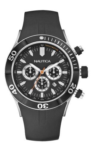 Nautica Men's NSR-01 Black Resin Strap Chronograph Watch #N16533G
