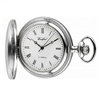 Woodford Pocket Watch 1055 Chrome Plated Engine Turned Half Hunter