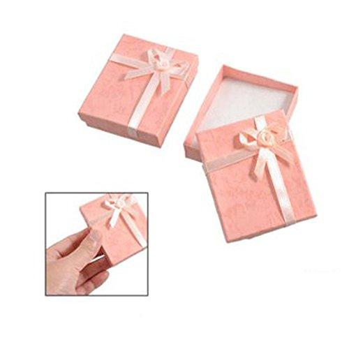 2x Bowtie Accent Scatole cartone per regali colore rosa pesca porta bracciali