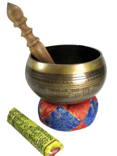 Exquisite 6 Inch Tibetan Singing Bowl Made in Nepal with Striker, Cushion & a...