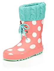 Lace Up Knitted Cuff Spotted Welly Boots
