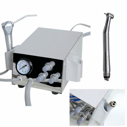 Portable Dental Tin Turbine Unit Work with 3 Way Syringe + 1 Pc Air High Speed Handpiece Air Compressor 2H by Moredental