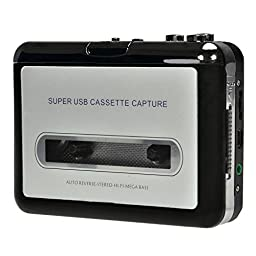 SOUESA Handheld Portable USB2.0 Cassette Player Capture Cassette Recorder Converter Tape-to-MP3 Auto Reverse Stereo Hi-Fi