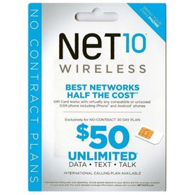 Net 10 Wireless Sim Card + Preloaded $50 Plan (First Month Free) 5GB 4G-LTE (Net10 Service Plan Card compare prices)