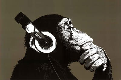 The Chimp Stereo Art Print Poster - 24X36 Custom Fit With Richandframous Black 36 Inch Poster Hangers