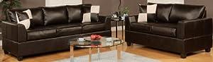 Bobkona Soft-Touch Bonded Leather Match 2-Piece Sofa Set, Espresso