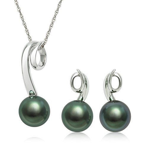 Sterling Silver Tahitian Cultured Black Pearl Earring and Pendant Set