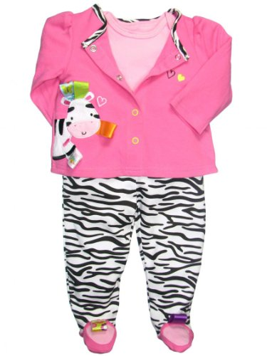 Taggies Baby Girl 3 Piece Zebra Footed Pants Outfit By Taggies - Hot Pink - 6 Mths / 12-16 Lbs front-648132