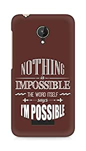 AMEZ Nothing is Impossible Back Cover For Micromax Canvas Spark Q380