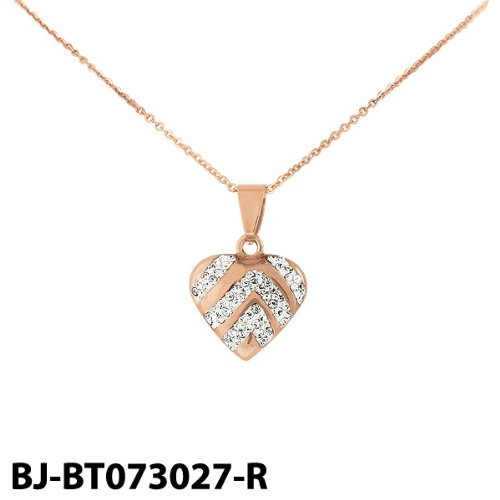 Stainless Steel Two Tone Heart Pendant with Cubic Zirconia & Chain 3 Colors Availble