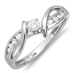 0.25 Carat (ctw) 10k White Gold Round Diamond Crossover Split Shank Ladies Bridal Promise Engagement Ring 1/4 CT (Size 7)