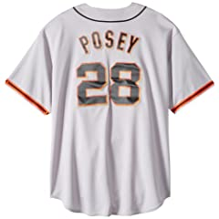 MLB Mens San Francisco Giants Buster Posey Gray Short Sleeve 6 Button Synthetic... by Majestic