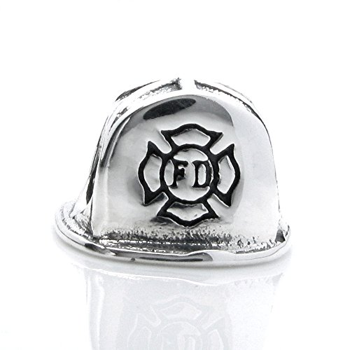 Sterling Silver Firefighter Helmet European Style Bead Charm